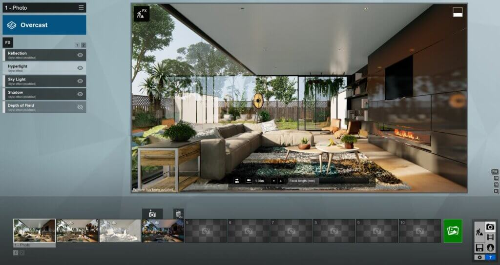 Rendering 3D all'interno di Lumion.